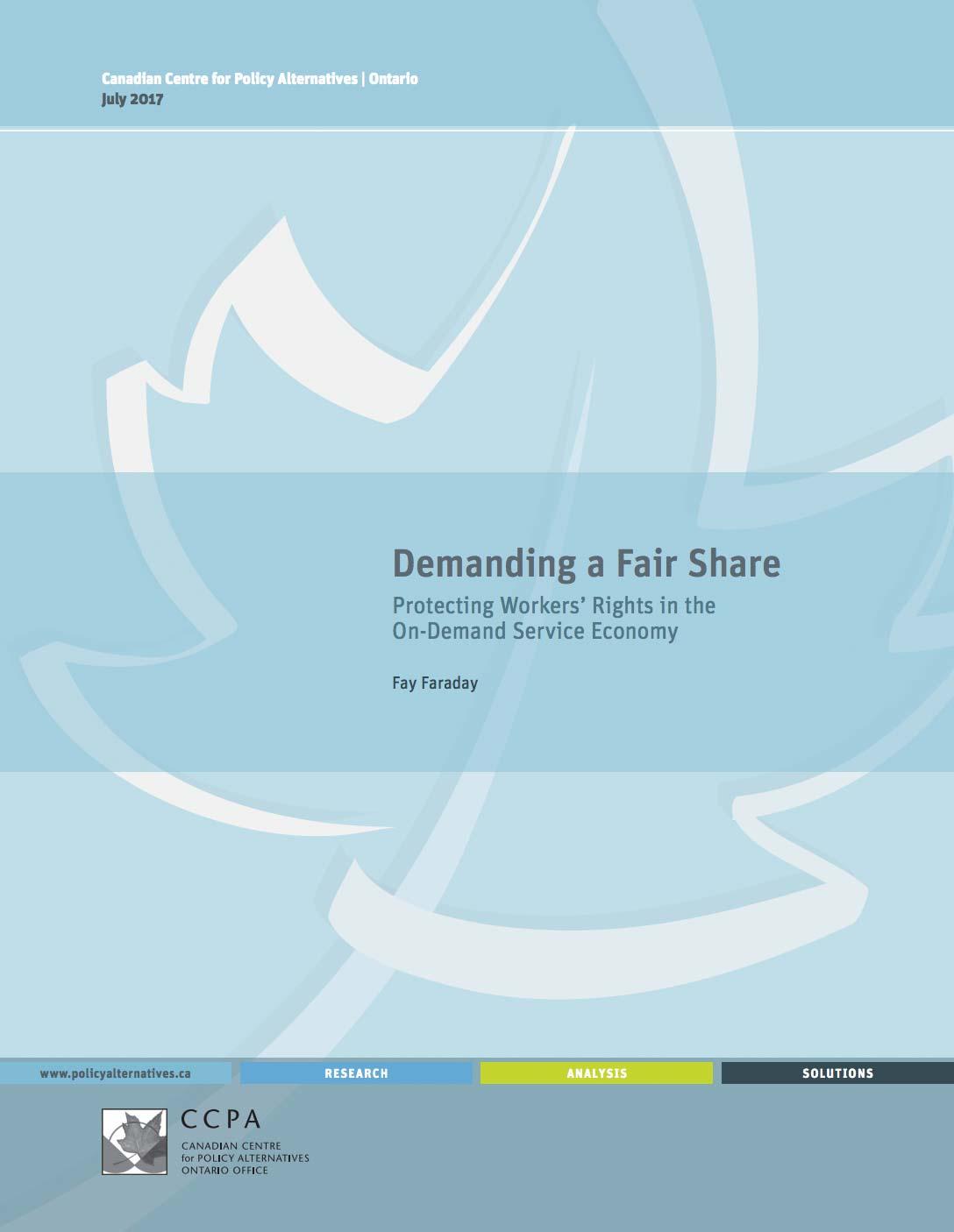 Demanding a Fair Share report cover
